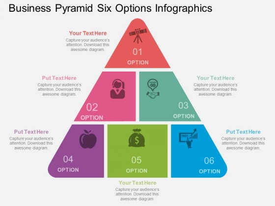 Business Pyramid Six Options Infographics Powerpoint Template