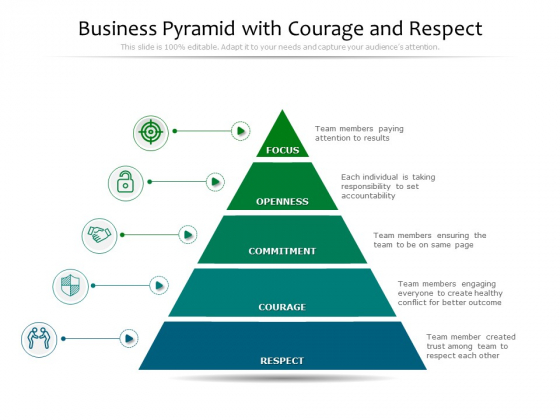 Business Pyramid With Courage And Respect Ppt PowerPoint Presentation Icon Guide PDF