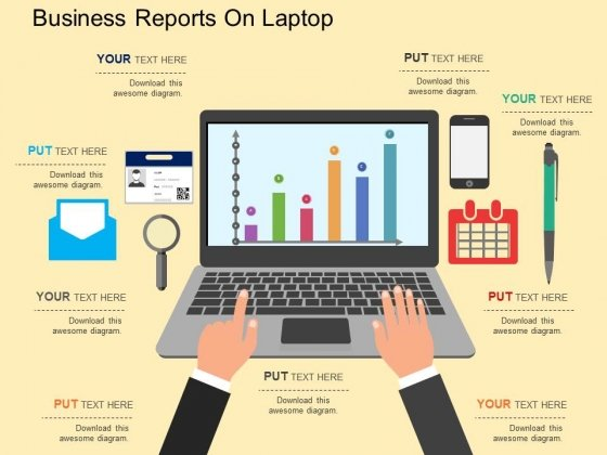 Business Reports On Laptop Powerpoint Template
