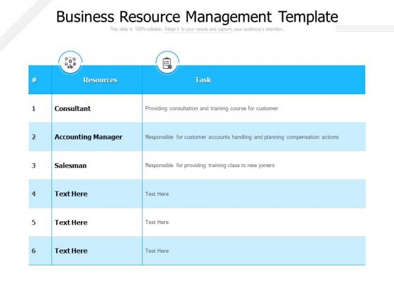 Business Resource Management Template Ppt PowerPoint Presentation Ideas Layout