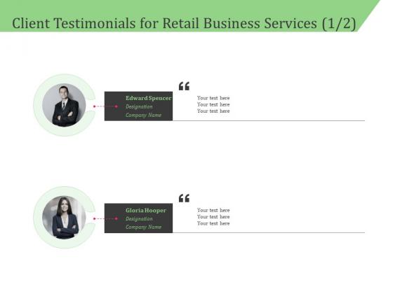 Business Retail Shop Selling Client Testimonials For Retail Business Services Designation Mockup PDF