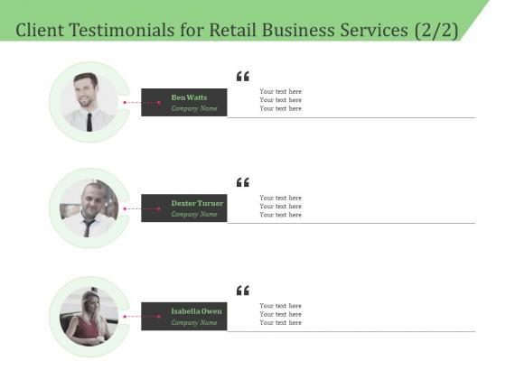 Business Retail Shop Selling Client Testimonials For Retail Business Services Portrait PDF