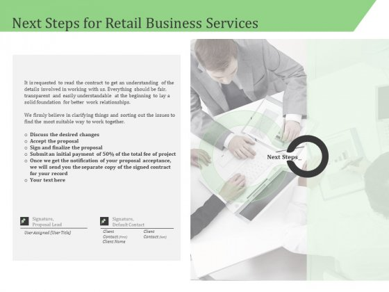 Business Retail Shop Selling Next Steps For Retail Business Services Summary PDF