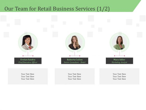Business Retail Shop Selling Our Team For Retail Business Services Analyst Graphics PDF