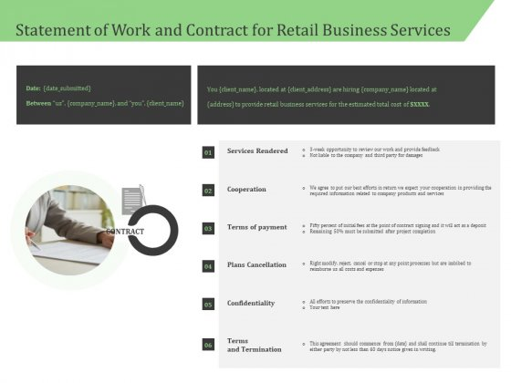 Business Retail Shop Selling Statement Of Work And Contract For Retail Business Services Background PDF