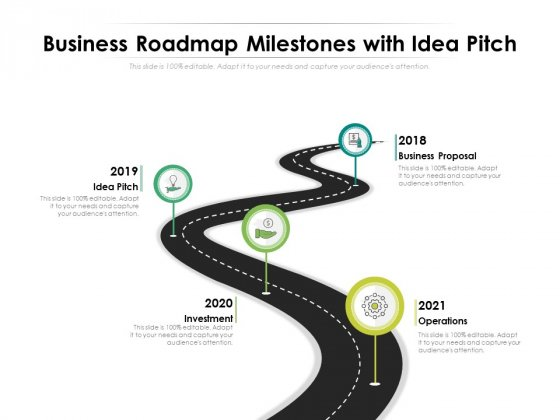Business Roadmap Milestones With Idea Pitch Ppt PowerPoint Presentation File Model PDF