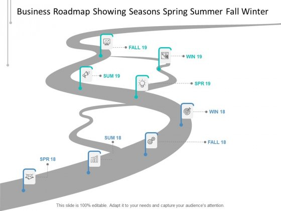 Business Roadmap Showing Seasons Spring Summer Fall Winter Ppt PowerPoint Presentation Infographic Template Elements