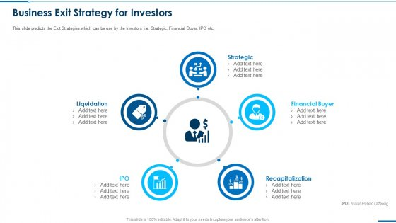 Business Round Investment Deck Business Exit Strategy For Investors Microsoft PDF