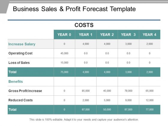 Business Sales And Profit Forecast Template Ppt PowerPoint Presentation Ideas
