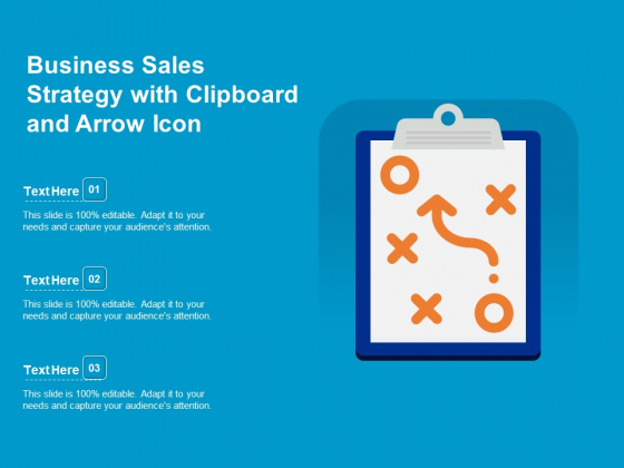 Business Sales Strategy With Clipboard And Arrow Icon Ppt PowerPoint Presentation Pictures Designs Download PDF