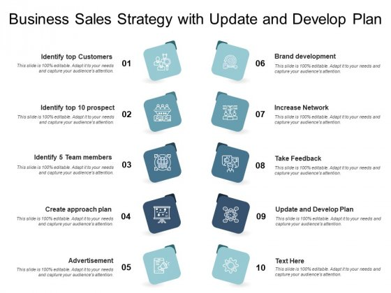 Business Sales Strategy With Update And Develop Plan Ppt PowerPoint Presentation Layouts Designs Download PDF