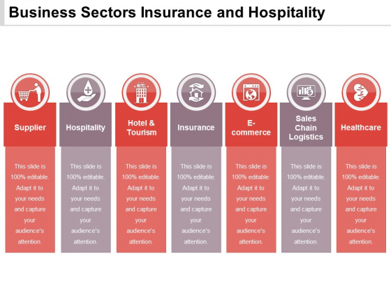 Business Sectors Insurance And Hospitality Ppt PowerPoint Presentation Pictures Styles PDF