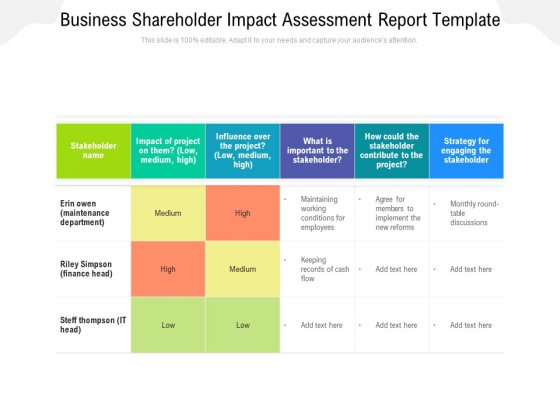 Business Shareholder Impact Assessment Report Template Ppt PowerPoint Presentation Gallery Show PDF
