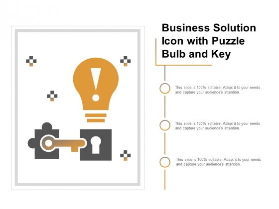 Business Solution Icon With Puzzle Bulb And Key Ppt PowerPoint Presentation Slides Smartart