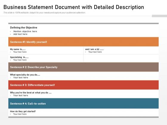 Business Statement Document With Detailed Description Ppt PowerPoint Presentation File Ideas PDF