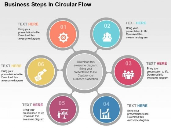 Business Steps In Circular Flow Powerpoint Templates
