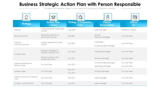 Business Strategic Action Plan With Person Responsible Ppt PowerPoint Presentation Portfolio Smartart PDF