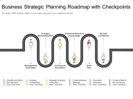 Business Strategic Planning Roadmap With Checkpoints Ppt PowerPoint Presentation Gallery Images PDF
