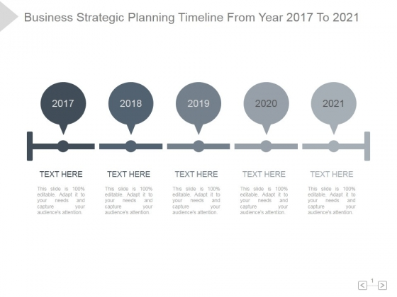 Business Strategic Planning Timeline From Year 2017 To 2021 Ppt PowerPoint Presentation Show
