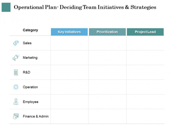 Business Strategies Operational Plan Deciding Team Initiatives And Strategies Ppt Infographic Template Outfit PDF