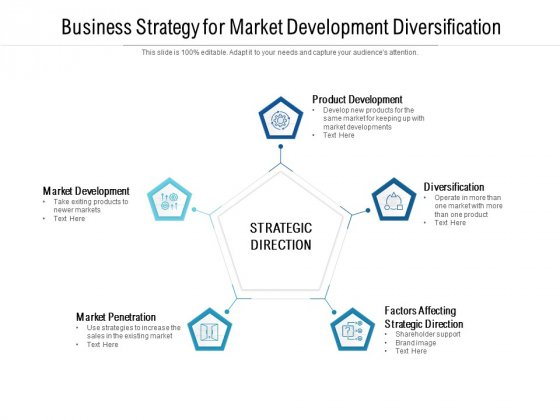 Business Strategy For Market Development Diversification Ppt PowerPoint Presentation Outline Visuals