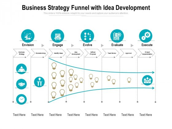 Business Strategy Funnel With Idea Development Ppt PowerPoint Presentation Layouts Aids PDF