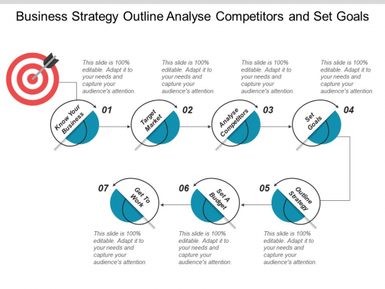 Business Strategy Outline Analyse Competitors And Set Goals Ppt PowerPoint Presentation File Graphics