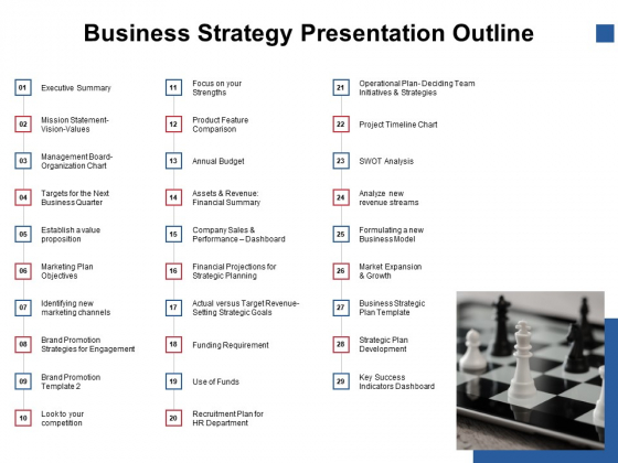 Business Strategy Presentation Outline Ppt PowerPoint Presentation Icon Topics