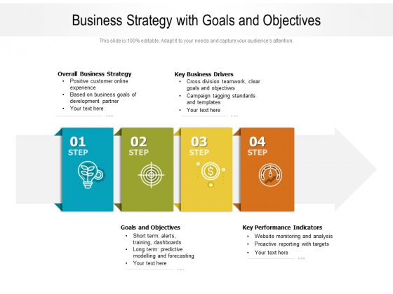 Business Strategy With Goals And Objectives Ppt PowerPoint Presentation Gallery Diagrams PDF