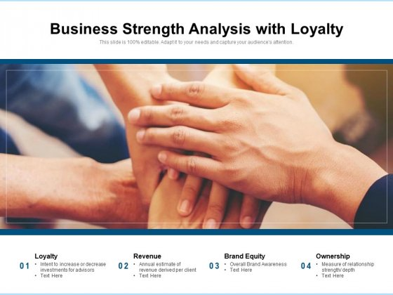 Business Strength Analysis With Loyalty Ppt PowerPoint Presentation Summary Background Designs PDF