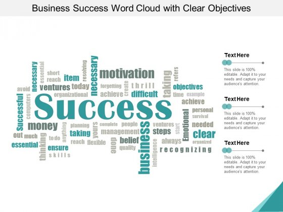 Business Success Word Cloud With Clear Objectives Ppt