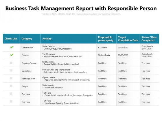 Business Task Management Report With Responsible Person Ppt PowerPoint Presentation File Structure PDF