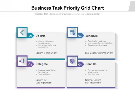 Business Task Priority Grid Chart Ppt PowerPoint Presentation Gallery Graphics Template PDF