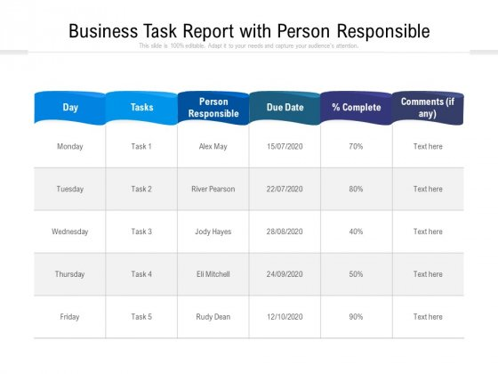 Business Task Report With Person Responsible Ppt PowerPoint Presentation Infographics Guide PDF