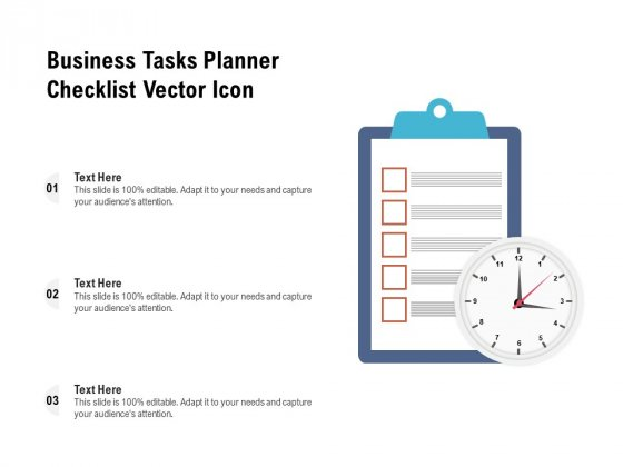 Business Tasks Planner Checklist Vector Icon Ppt PowerPoint Presentation File Master Slide PDF