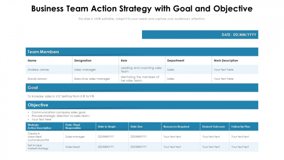 Business Team Action Strategy With Goal And Objective Ppt PowerPoint Presentation Inspiration Diagrams PDF