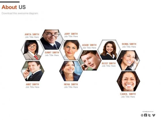 Business Team Network About Us Slide Powerpoint Slides