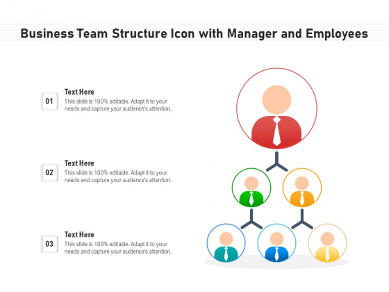 Business Team Structure Icon With Manager And Employees Ppt PowerPoint Presentation Icon Outline PDF