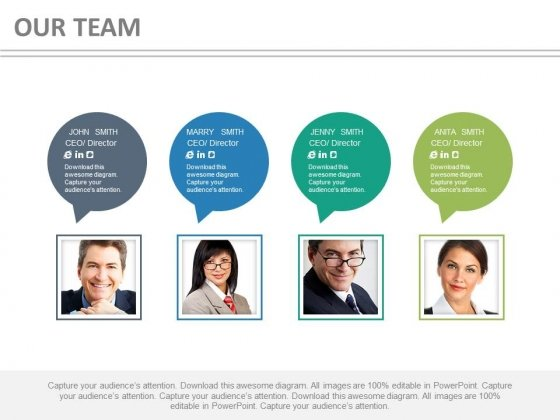 Business Team With Speech Bubbles For Communication Powerpoint Slides