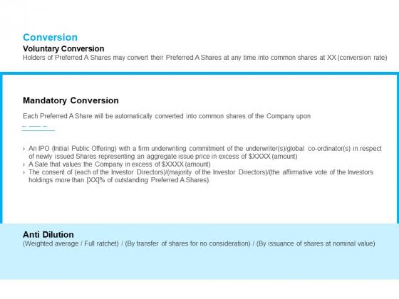 Business Term Sheet Conversion Ppt Slides Sample PDF