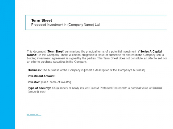 Business Term Sheet Term Sheet Proposed Investment In Company Name Ltd Ppt File Good PDF