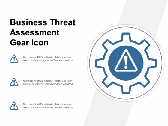 Business Threat Assessment Gear Icon Ppt PowerPoint Presentation Ideas File Formats