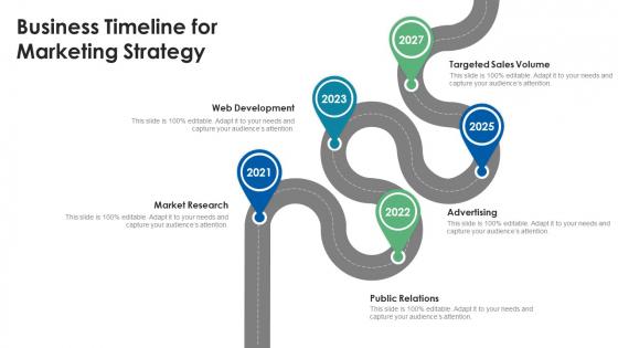 Business Timeline For Marketing Strategy Ppt Inspiration Format PDF