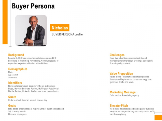 Business To Business Advertising Proposal Buyer Persona Designs PDF