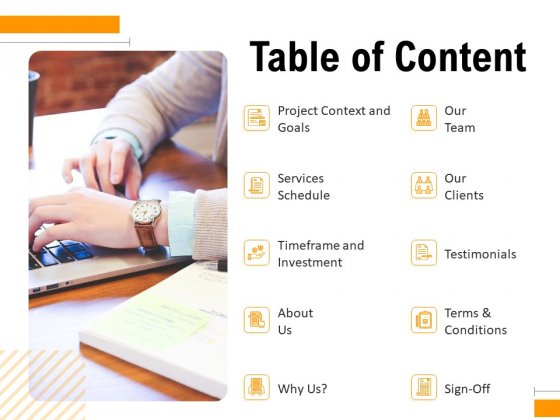 Business To Business Advertising Proposal Table Of Content Slides PDF