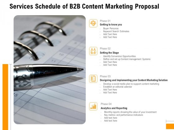 Business To Business Advertising Services Schedule Of B2B Content Marketing Proposal Introduction PDF