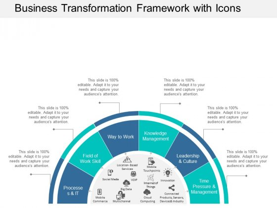 Business Transformation Framework With Icons Ppt Powerpoint Presentation Infographic Template Information