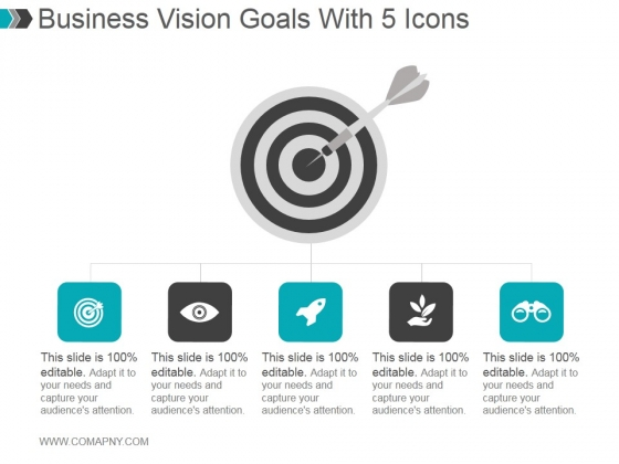 Business Vision Goals With 5 Icons Ppt PowerPoint Presentation Layout