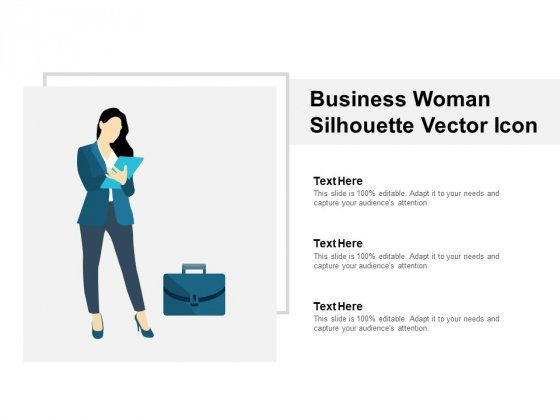 Business Woman Silhouette Vector Icon Ppt PowerPoint Presentation Pictures Portrait