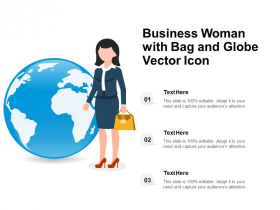 Business Woman With Bag And Globe Vector Icon Ppt PowerPoint Presentation Model Information PDF